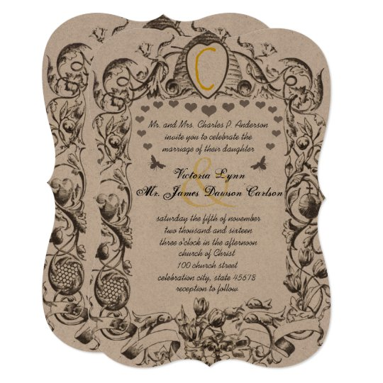 Rustic Scroll: Unique Rustic Bumble Bee Hive Floral Scroll Invitation