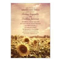 Unique Rustic Vintage Sunflower Engagement Party Card