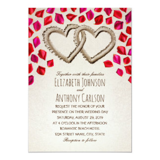 Unique Sand Hearts Rose Petal Beach Themed Wedding Card