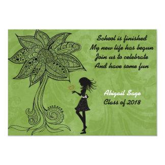 Unique Silhouette Girl Flower Graduation Invite