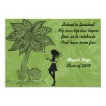 """Unique Silhouette Girl Flower Graduation Invite 5"""" X 7"""" Invitation Card"""