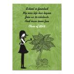 """Unique Silhouette Girl Flower Graduation Invite 5.5"""" X 7.5"""" Invitation Card"""