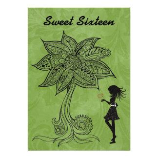 Unique Silhouette Girl Flower Sweet 16 Invite