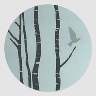 Unique silver birch, bird artwork classic round sticker