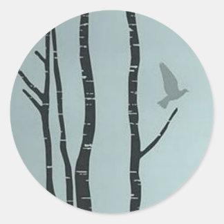 Unique silver birch, bird artwork classic round sticker
