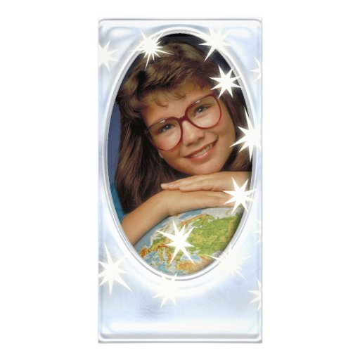 Unique silver photo frame with white stars photo card template