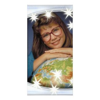 Unique silver photo frame with white stars photo greeting card