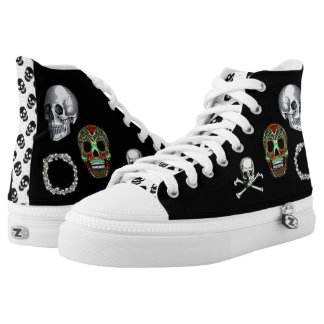 Unique Skull Collage Funky Goth B&W High Top Printed Shoes