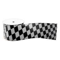 Unique Small Fun Black White Checkered Pattern Grosgrain Ribbon