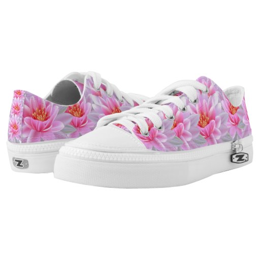 Unique sneakers! custom shoes designed-Floral Pink