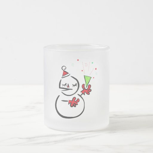 Unique Snowman 10 Oz Frosted Glass Coffee Mug