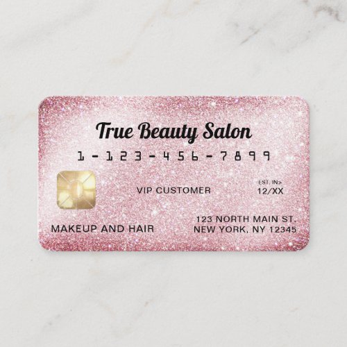 Unique Sparkly Pink Glitter Credit Card