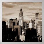 Unique Square Sepia New York Ink Sketch Poster