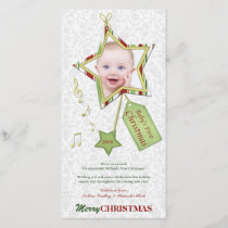 Unique Star Baby's First Christmas Photo Card