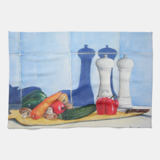 unique still life art of peppers courgette carrots hand towel