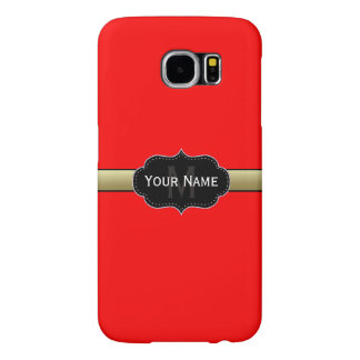 Unique Strawberry Red/Gold/Black. Custom Monogram Samsung Galaxy S6 Cases