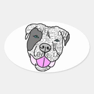 Unique & Stylish Pit Bull Love Graphic Oval Sticker