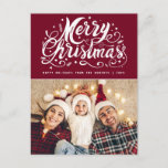 """unique stylish script modern christmas postcard<br><div class=""""desc"""">simple and stylish holiday merry christmas text  and your favorite personal photo.</div>"""