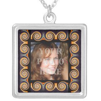 Unique Sunset Spiral Fractal Photo Frame Necklace