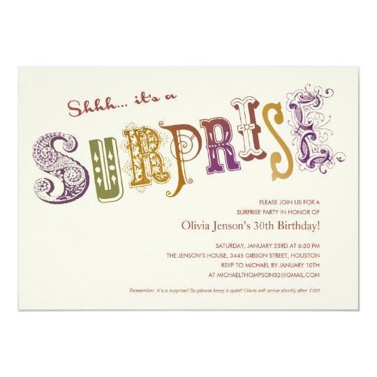 Unique Surprise Party Invitations