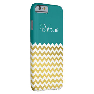 Unique Teal Blue. Elegant, Chic Gold White Chevron Barely There iPhone 6 Case