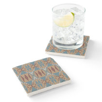 Unique Teal Blue Red Taupe Brown Mosaic Stone Coaster