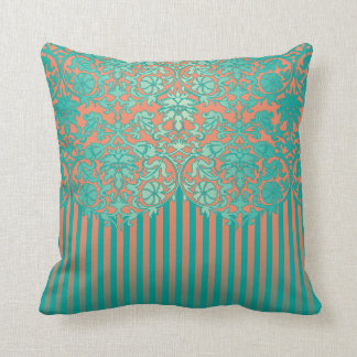 Unique Teal & Coral Floral Damask Throw Pillow