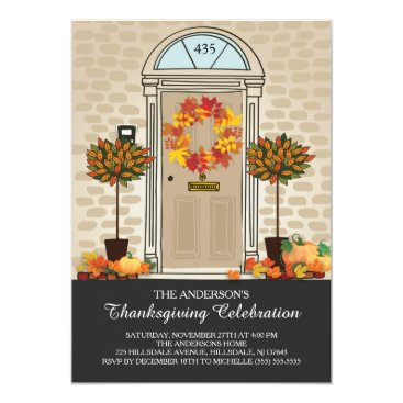 Beach Themed Unique Thanksgiving Celebration Dinner Party Card