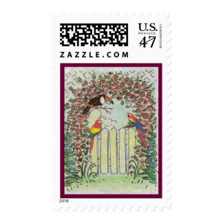Unique Toucan & Parrots iin Rose Arbor on Fence Postage