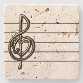 Unique Treble Clef Music Staff Personalizable Stone Coaster