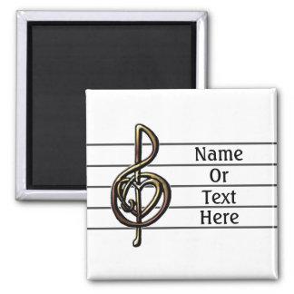 Unique Treble Clef Music Staff Personalizable Magnet