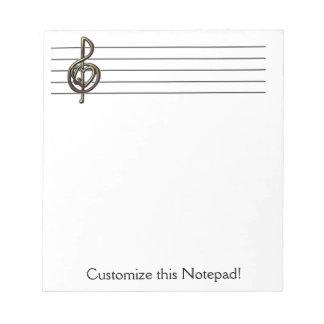 Unique Treble Clef Music Staff Personalizable Notepad
