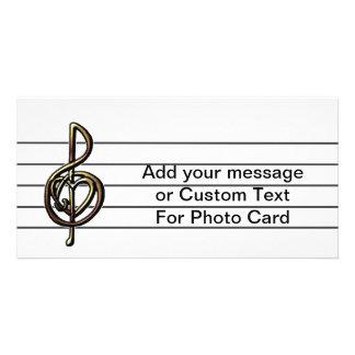 Unique Treble Clef Music Staff Personalizable Picture Card