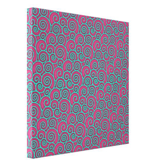 Unique Trendy Wavy Swirly Pink Turquoise Abstract Canvas Prints