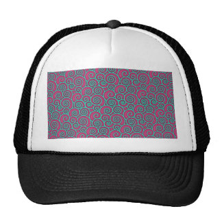 Unique Trendy Wavy Swirly Pink Turquoise Abstract Mesh Hats