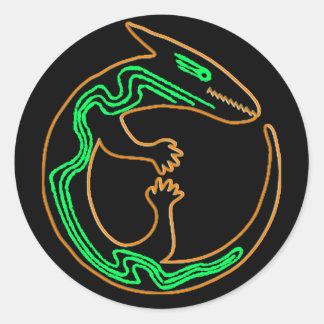 Unique Tribal Green Lizard Classic Round Sticker