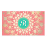 Unique Turquoise, Gold, Pink Coral Monogram Double-Sided Standard Business Cards (Pack Of 100)