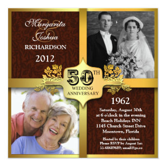 unique two photos 50th anniversary invitations
