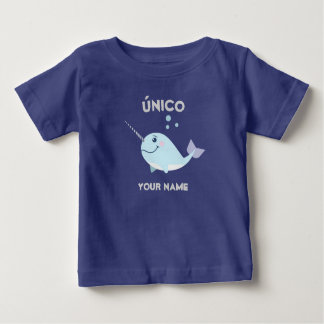 """""""Unique/único"""" Baby T-Shirt with Narwhal"""