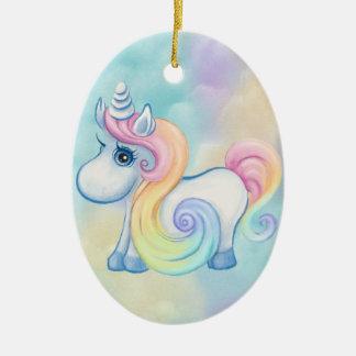 Unique Unicorn Pastel Cloud Ceramic Ornament