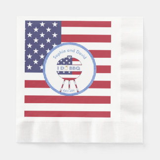 Unique USA flag 4th of July Party I DO BBQ Paper Napkin