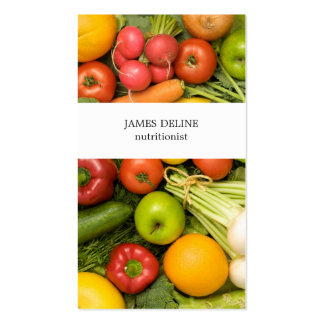 Unique Vegetables Nutritionist Double-Sided Standard Business Cards (Pack Of 100)