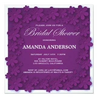 Unique Velvet Purple Floral Bridal Shower 5.25x5.25 Square Paper Invitation Card