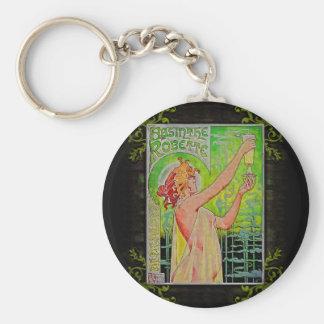 Unique Vintage Absinthe Green Fairy Basic Round Button Keychain