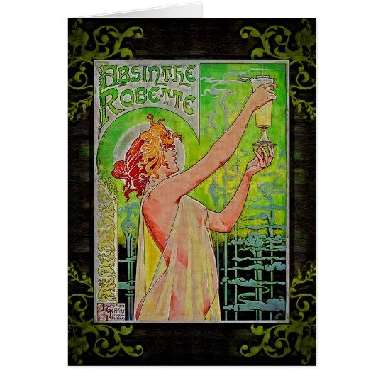Unique Vintage Absinthe Green Fairy Card