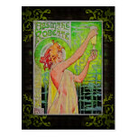 Unique Vintage Absinthe Green Fairy Postcard