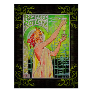 Unique Vintage Absinthe Green Fairy Postcard