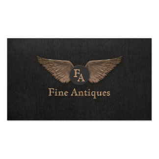 Unique Vintage Bronze Wings Monogram Black Double-Sided Standard Business Cards (Pack Of 100)