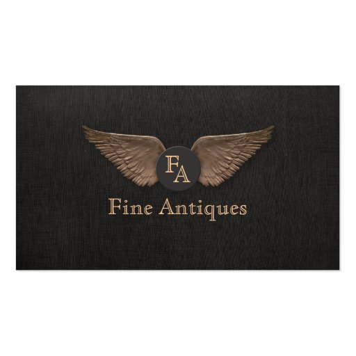 Unique Vintage Bronze Wings Monogrammed Black Business Card Templates