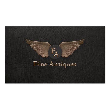 Elegant Vintage Bronze Wings on Black Linen Background Antique Dealer Business Cards